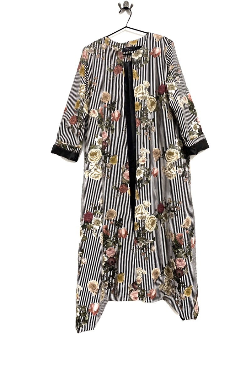 Floral Striped Duster Coat