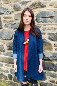 Daion - Short Denim Swing Jacket - Indigo Blue