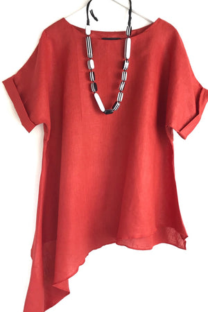 terracotta red linen t shirt - rew clothing