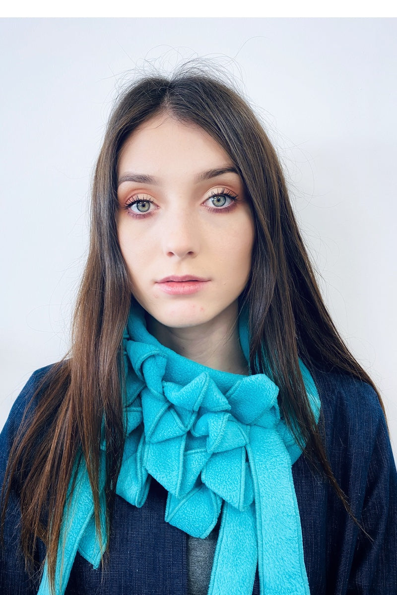 Ellie -  Turquoise Soft Fleece Button & Go Scarf/Collar