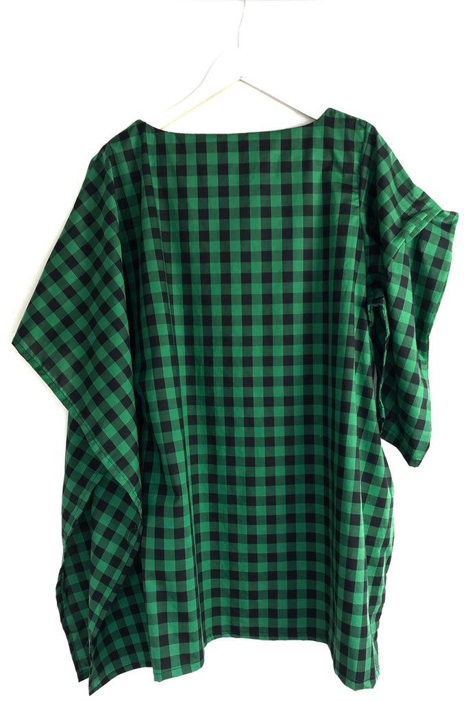 UNUSUAL GREEN AND NAVY GINGHAM DRESS WEDDINGS AND GARDEN PARTIES