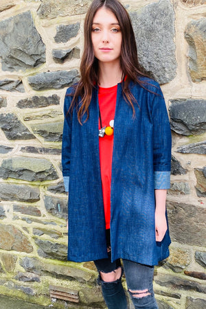 unusual denim duster coat
