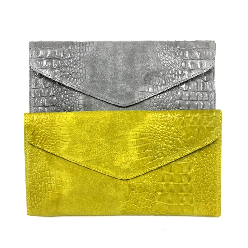 croc leather clutch