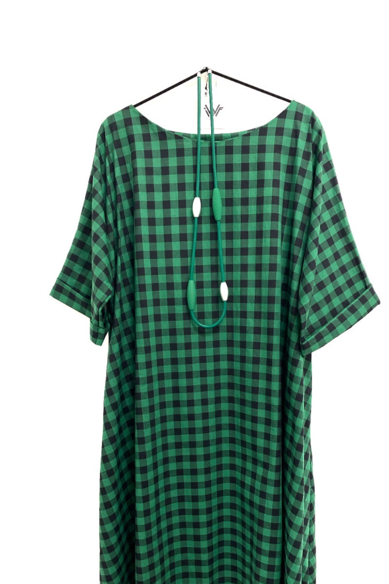 Gingham loose fit green and navy dress oversized