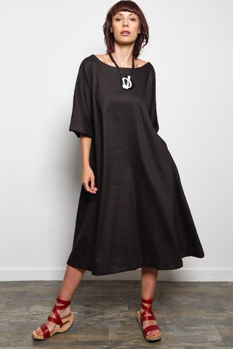 flared black linen dress | womens summer dress