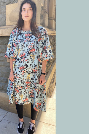 Zana Blue Bird Print Dress Loose Fit