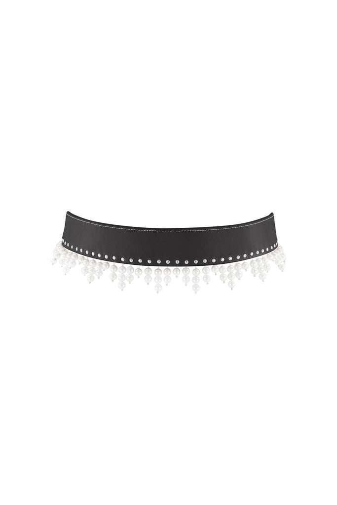 Triangle Pearl Drop Belt - Black with Silver Studs