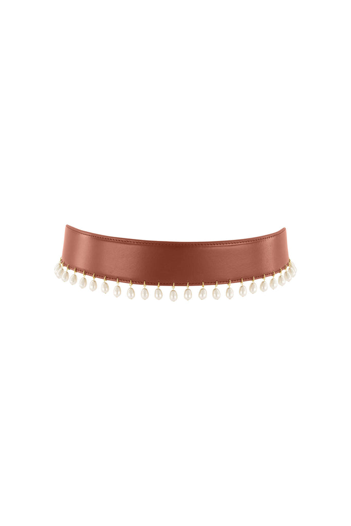 Pearl Drop Belt - Vintage Tan