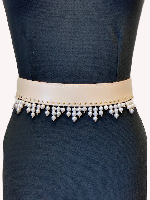 Triangle Drop Belt with Gold Rivets