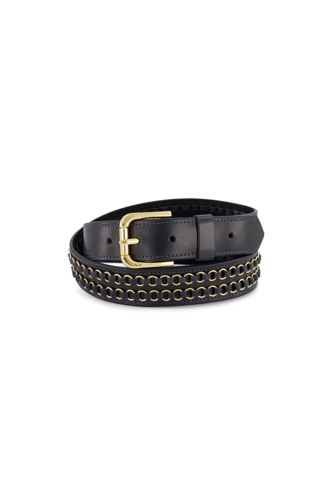 Double Ring Belt - Navy/Gold