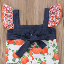 Load image into Gallery viewer, Pumpkin Ruffle Romper