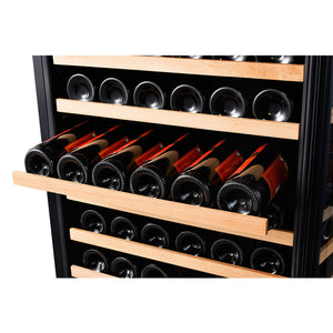 166 Bottle Single Zone Wine Cooler, Smoked Black Glass - Smith & Hanks