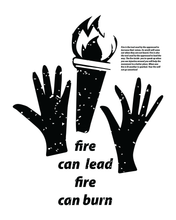 "Load image into Gallery viewer, ""Fire Can Lead, Fire Can Burn""  Tee (Black)"