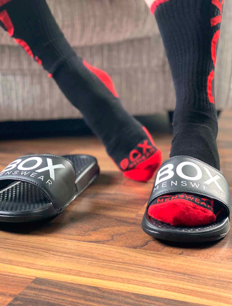 Red Black Lux Socks Adaptive Fit Sliders
