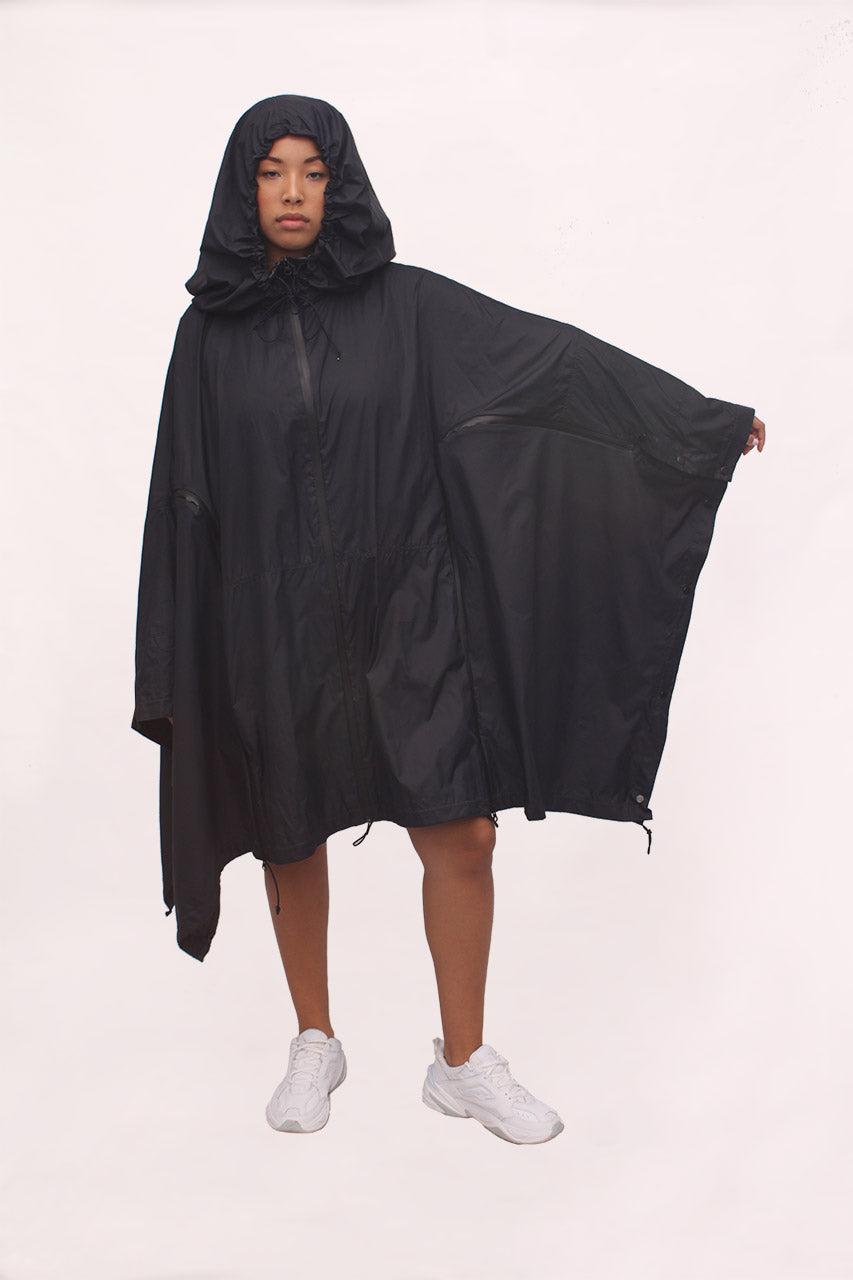 Handmade Detachable Waterproof Made to Measure Navy/Black Raincoat/Poncho/Rucksack