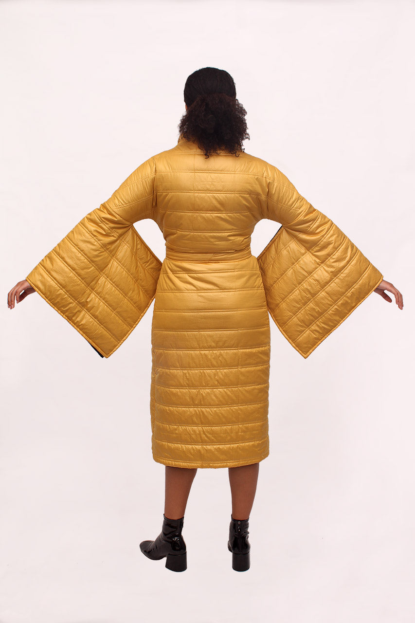 Handmade Waterproof Mustard Yellow Kimono Coat. Back