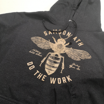 Close up of Do The Work Gym Hoodie by Samson Athletics