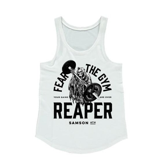 Fear the gym reaper ladies racerback tank samson athletics