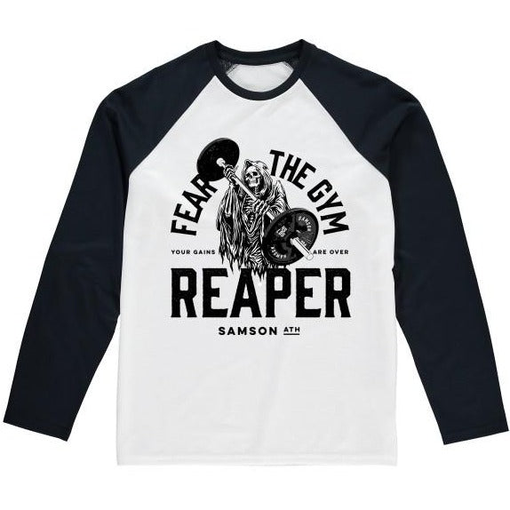 Fear the gym reaper baseball t-shirt samson athletics