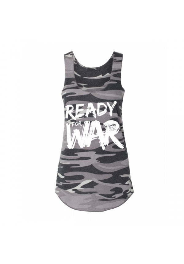 Ready for war ladies camo tank grey  samson athletics