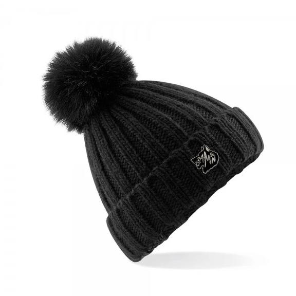 Chunky knit bobble hat black samson athletics