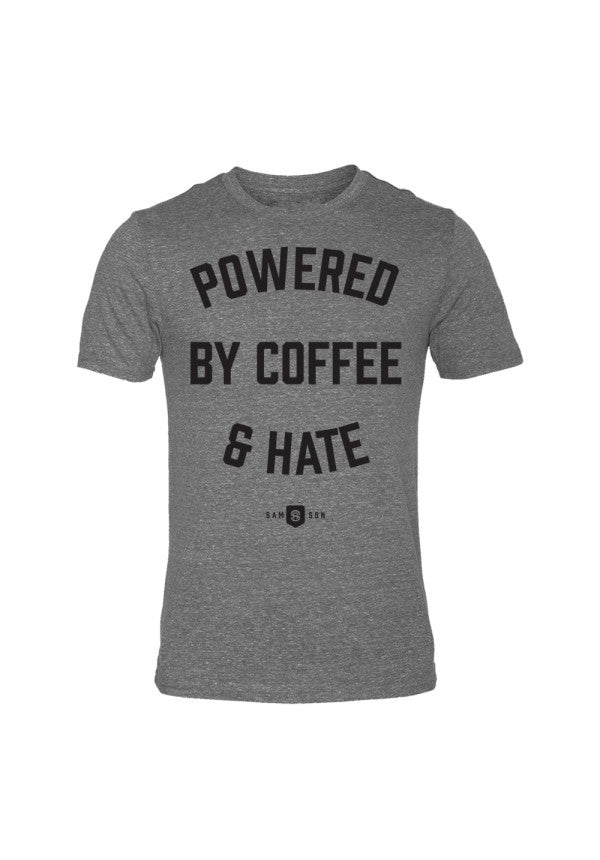 Powered coffee and hate triblend t-shirt samson athletics