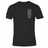 Mens gym t-shirt in charcoal grey with deadlift design in shape of coffin. Made by Samson Athletics