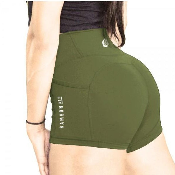 Delilah high waisted booty shorts khaki samson athletics