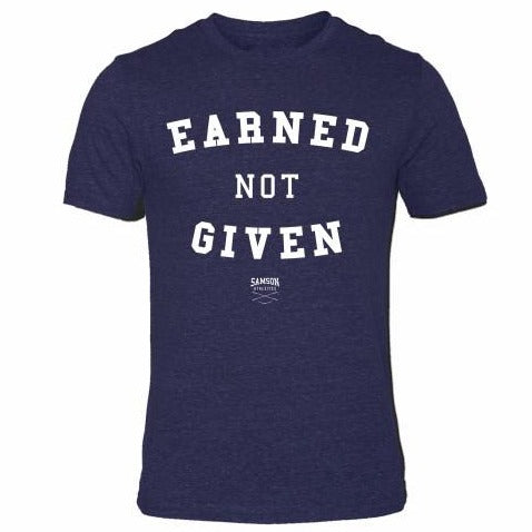 Earned not given navy triblend t-shirt samson athletics