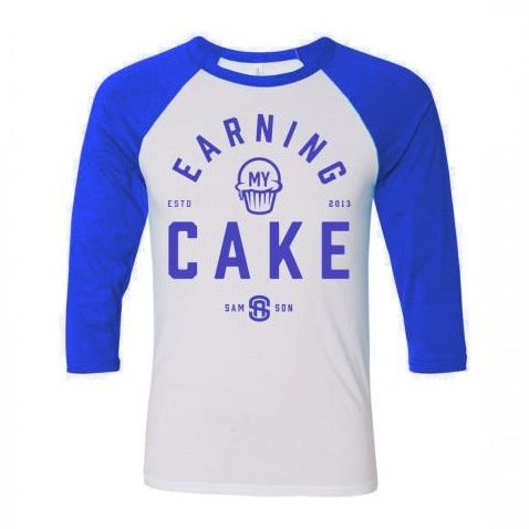 Earning my cake unisex baseball t-shirt samson athletics