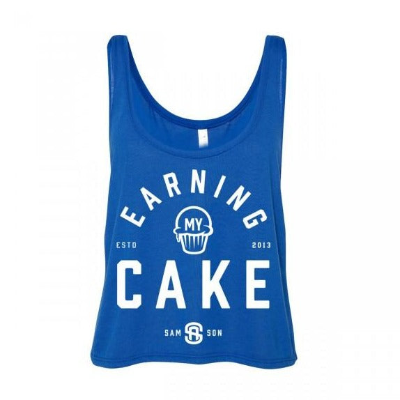 Earning my cake ladies cropped tank samson athletics