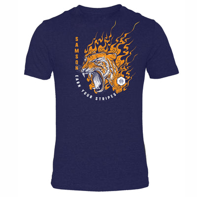 Navy t-shirt with artistic picture of a tiger representing courage, willpower and strength. Made by Samson Athletics