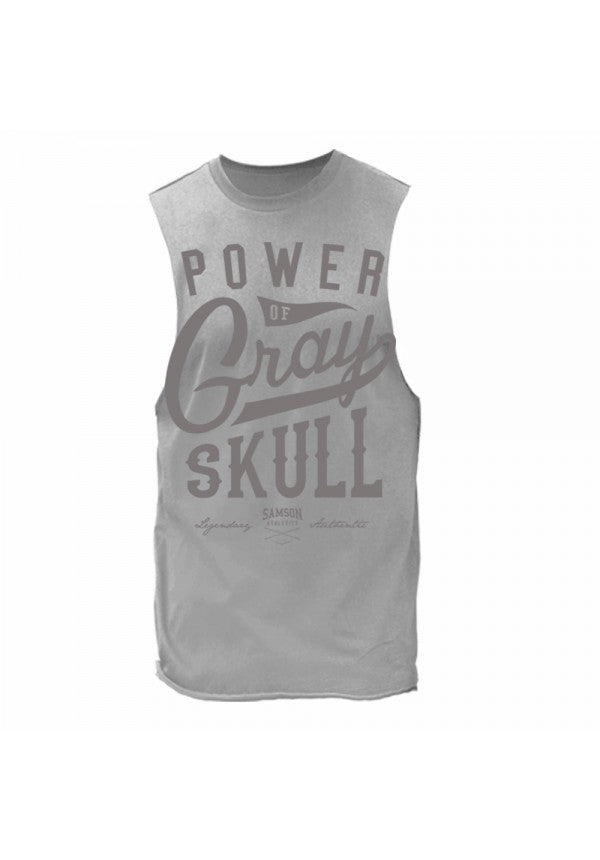 Power of gray skull cut off tank samson athletics