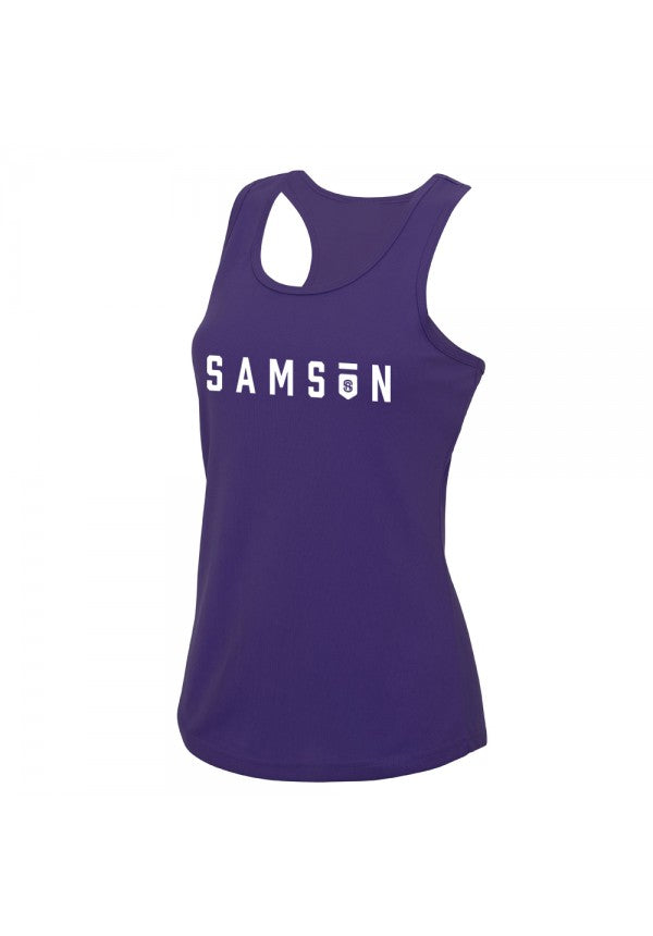 Ladies performance tank purple samson athletics