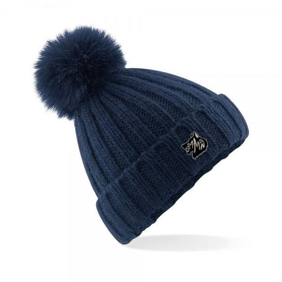 Chunky knit bobble hat navy samson athletics