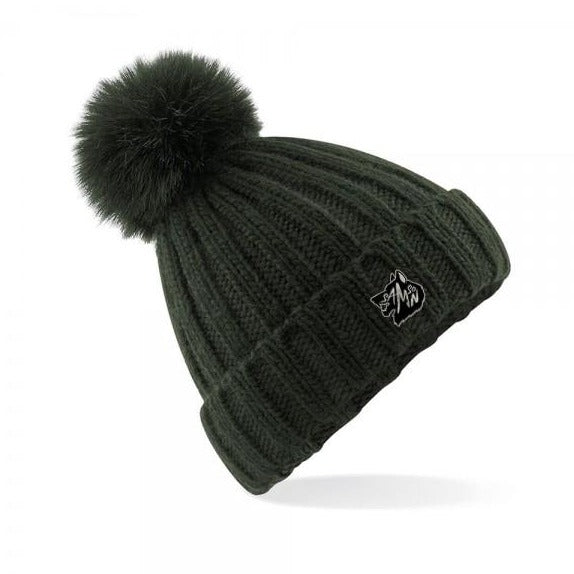 Chunky knit bobble hat olive samson athletics