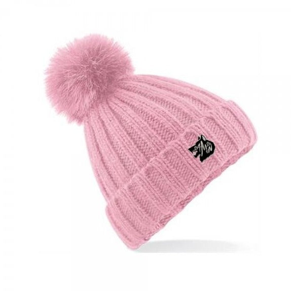 Chunky knit bobble hat pink samson athletics