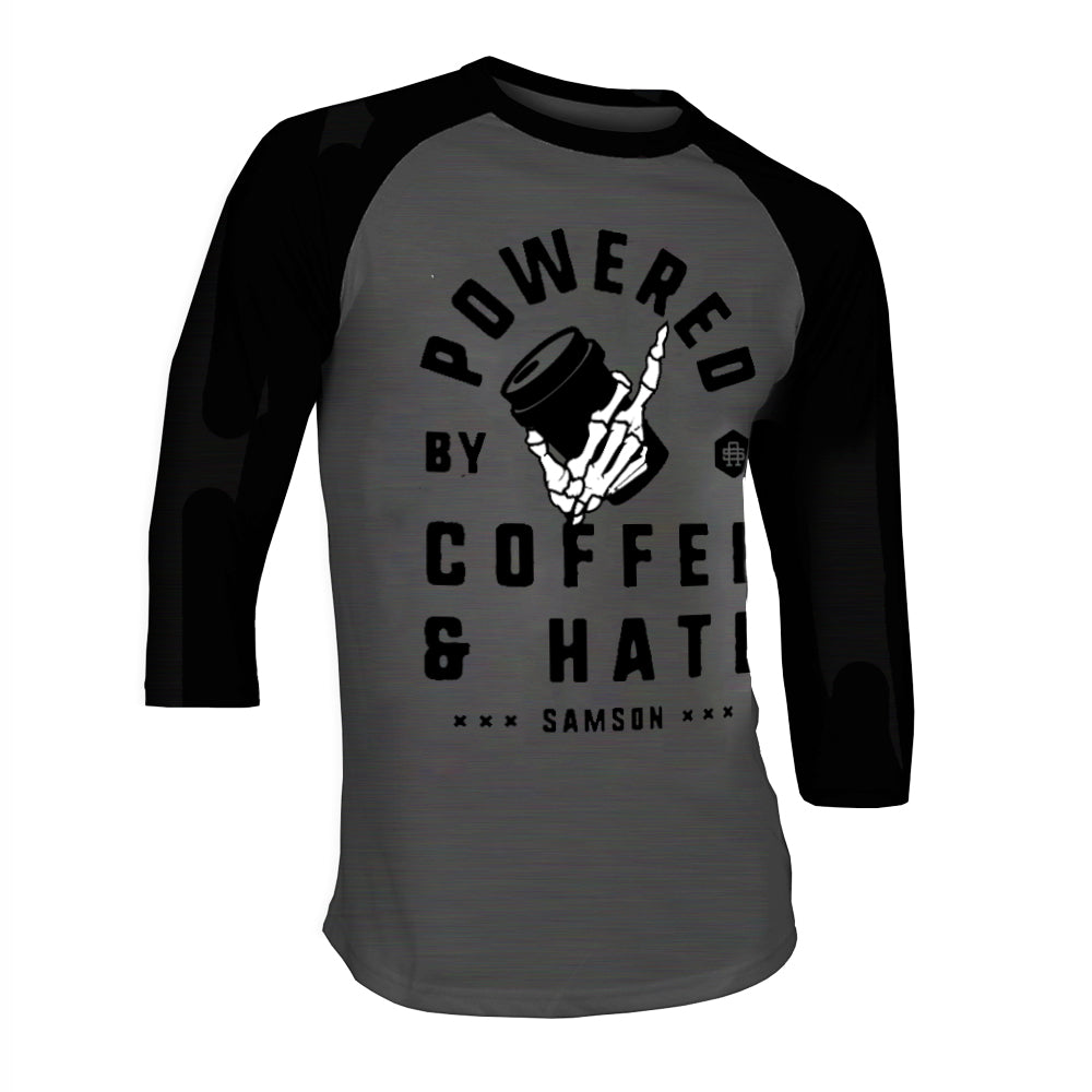 POWERED BY COFFEE AND HATE - V2 - BASEBALL TEE