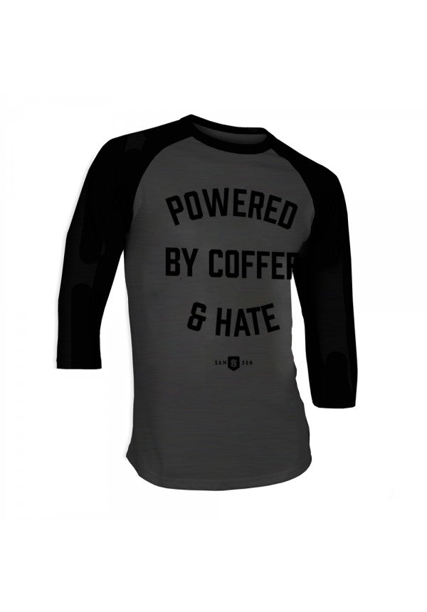Powered coffee and hate baseball t-shirt samson athletics