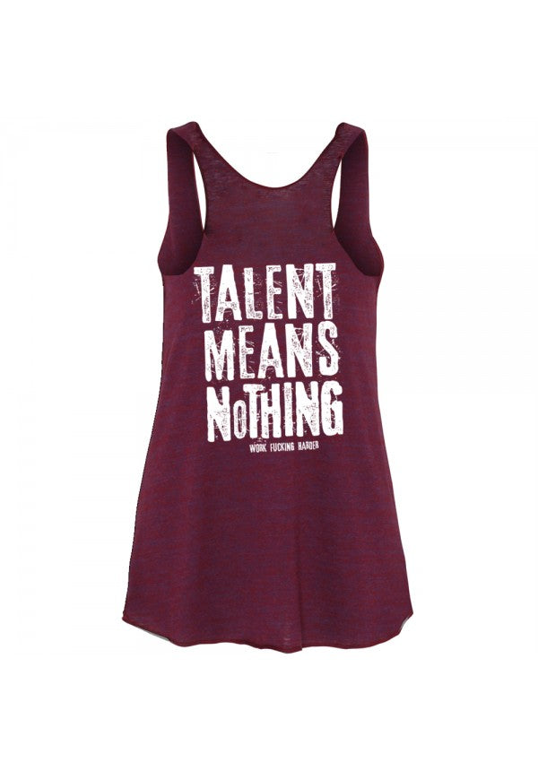Talent means nothing ladies triblend tank samson athletics