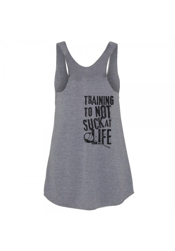 Training to not suck ladies triblend tank samson athletics