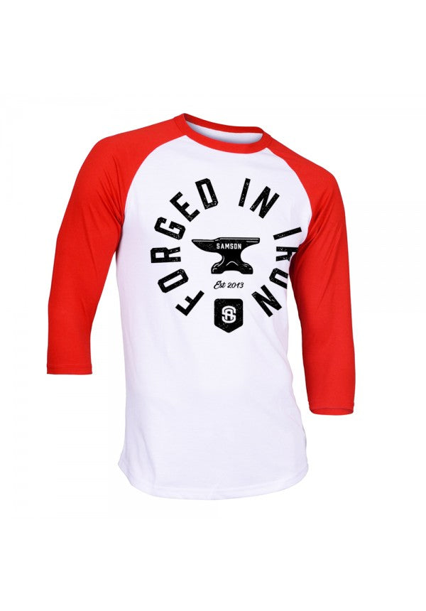 Forged in iron baseball t-shirt samson athletics