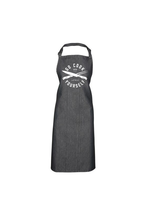 Go cook yourself black denim apron samson athletics