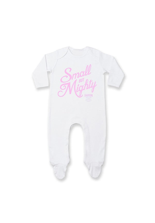 Small but mighty sleep suit pink samson athletics