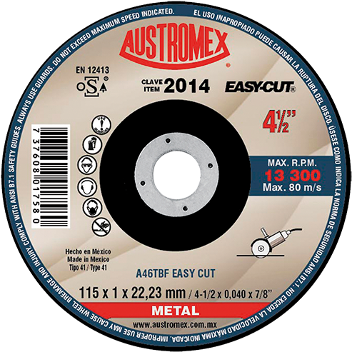 "Austromex Easy Cut 2014 Disco de Corte Metal 4""1/2"