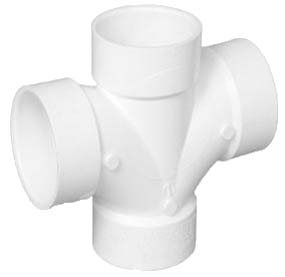 "Tee PVC Sanitario Doble 100 mm - 4"" (Cruz de PVC)"
