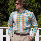 Plaid Checks Nantucket Island Logo  Button Down