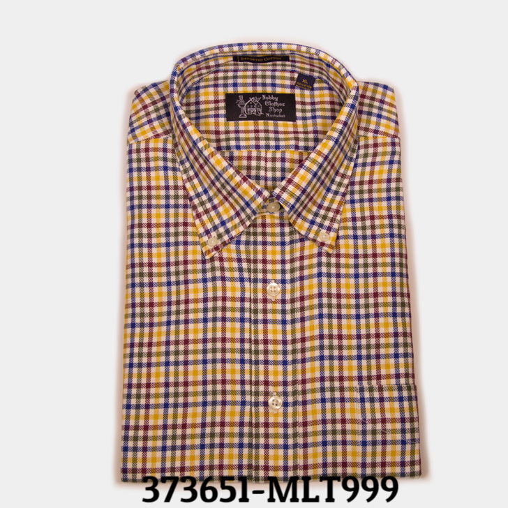 yell/blue plaid button down shirt