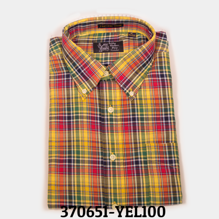 yel/red plaid button down shirt