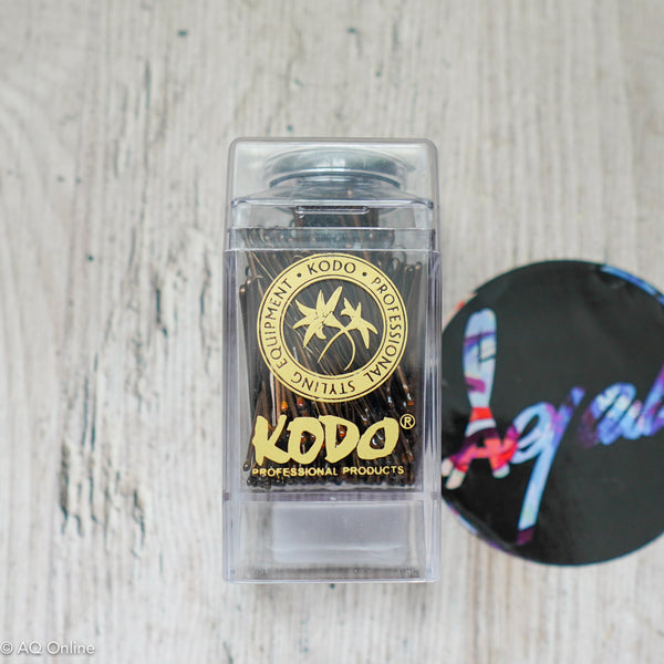 KODO 2cm Professional Waved 200 Hair Grips Brown with Magnetic Storage Box- AQ Online
